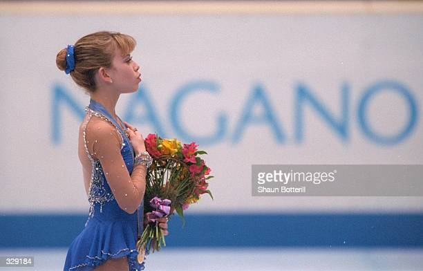 Tara Lipinski of the USA won the gold medal in the free skate competition at White Ring Arena during the 1998 Winter Olympic Games in Nagano Japan...