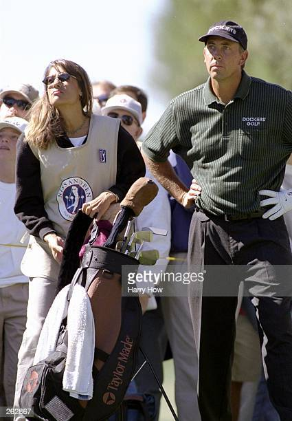 Tom and Melissa Lehman look on during the Nissan Open in Valencia California Mandatory Credit Harry How /Allsport