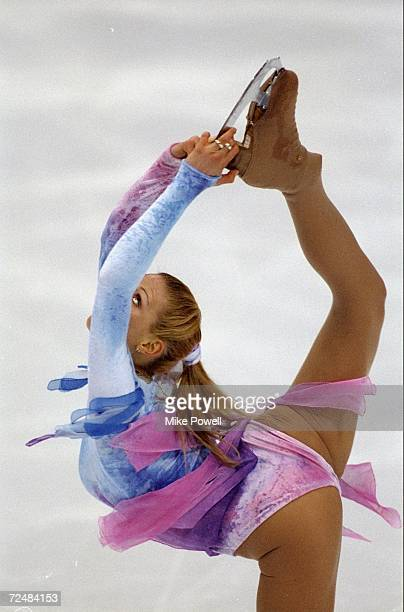 Vanessa Gusneroli/Fra skates in the Ladies Free Skate competition at the White Ring during the Winter Olympic Games in Nagano Japan