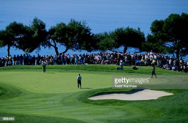 General view of golfers putting on a green during the Buick Inviational at the Torrey Pines Golf Course in La Jolla, California. Mandatory Credit:...