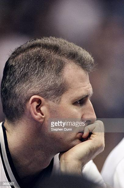 Andrew Gaze of the San Antonio Spurs looks on during the game against the Sacramento Kings at the Alamo Dome in San Antonio Texas The Spurs defeated...