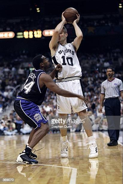 Andrew Gaze of the San Antonio Spurs looks to pass during the game against the Sacramento Kings at the Alamo Dome in San Antonio Texas The Spurs...