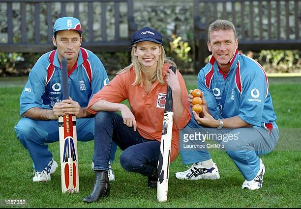 Anneka Rice poses with Nasser Hussian and Alec Stewart of England to promote womens cricket as Outspan are announced as official suppliers to the...