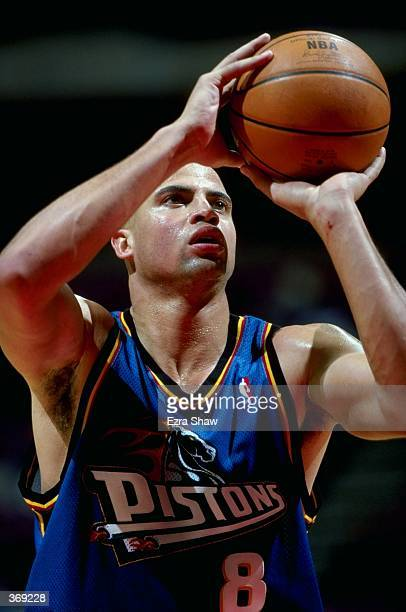 Bison Dele of the Detroit Pistons shooting the ball during the game against the New Jersey Nets at the Continental Airlines Arena in East Rutherford...
