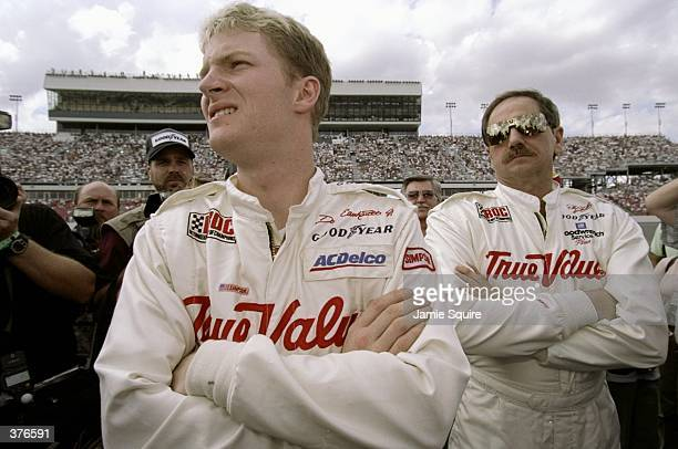 Dale Earnhardt Jr stands with Dale Earnhardt Sr during the IROC Race at the Daytona Speedweek in Daytona Florida Mandatory Credit Jamie Squire...