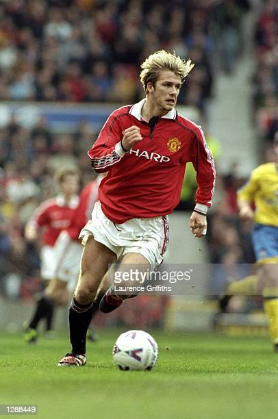 David Beckham of Manchester United in action during the FA Carling Premiership match against Southampton at Old Trafford in Machester England...