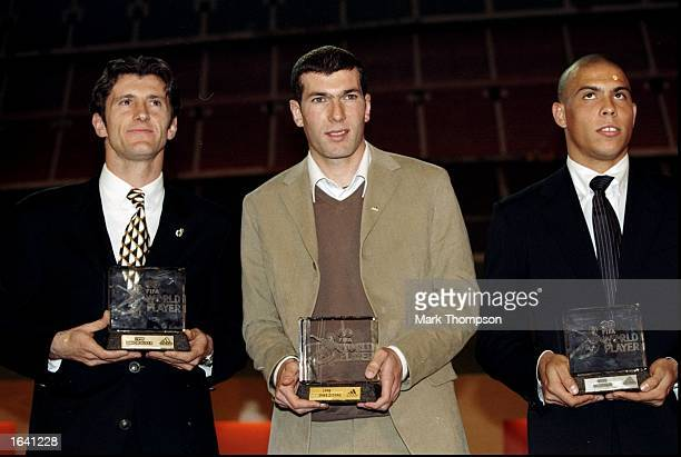 Davor Suker of Real Madrid and Croatia Zinedine Zidane of Juventus and France and Ronaldo of Inter Milan and Brazil receive their awards at the 1998...