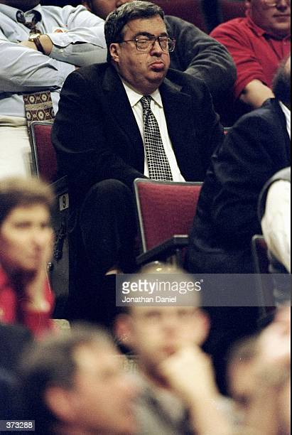General Manager Jerry Krause of the Chicago Bulls sits in the stands during the game against the Atlanta Hawks at the United Center in Chicago...