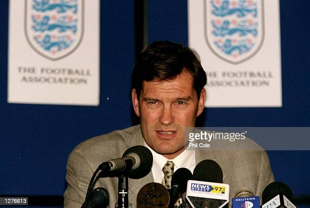 Glenn Hoddle at a press conference after he is sacked as England coach after revealing controversial beliefs on reincarnation related to disabled...