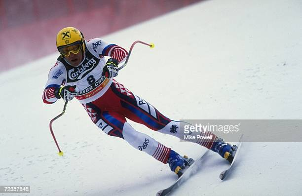Hermann Maier of Austria skies in the Mens Downhill during the World Alpine Ski Championship in Vail Beaver Creek Colorado Mandatory Credit Mike...
