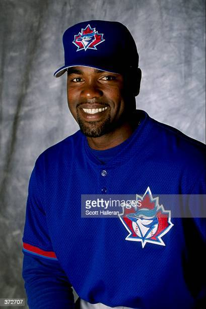 Infielder Carlos Delgado of the Toronto Blue Jays poses for a studio portrait on Photo Day during Spring Training at the Dunedin Stadium at Grant...