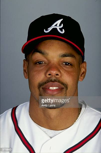 Outfielder Brian Hunter of the Atlanta Braves poses for a studio portrait on Photo Day during Spring Training at the Disney Wide World of Sports in...