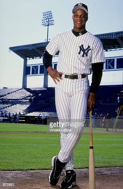 Outfielder Darryl Strawberry of the New York Yankees poses for the camera on Photo Day during Spring Training at Legends Field in Tampa Florida...