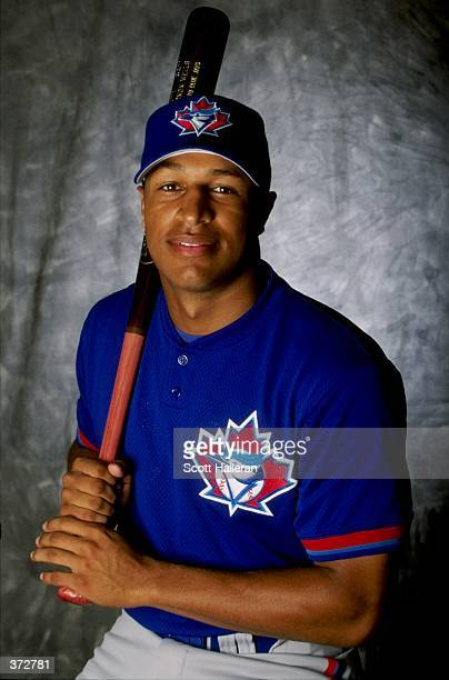 Outfielder Vernon Wells of the Toronto Blue Jays poses for a studio portrait on Photo Day during Spring Training at the Dunedin Stadium at Grant...