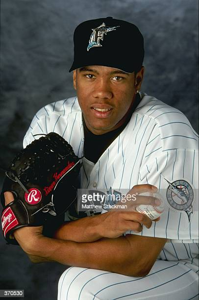 Pitcher Livan Hernandez of the Florida Marlins poses for a studio portrait on Photo Day during Spring Training at the Space Coast Stadium in...