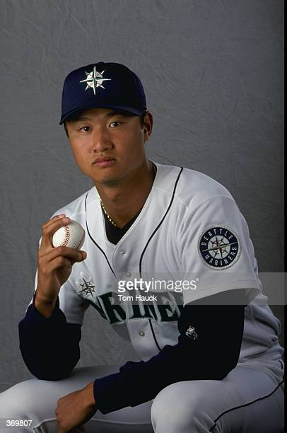 Pitcher Mac Suzuki of the Seattle Mariners poses for a studio portrait on Photo Day during Spring Training at the Peoria Stadium in Peoria Arizona...