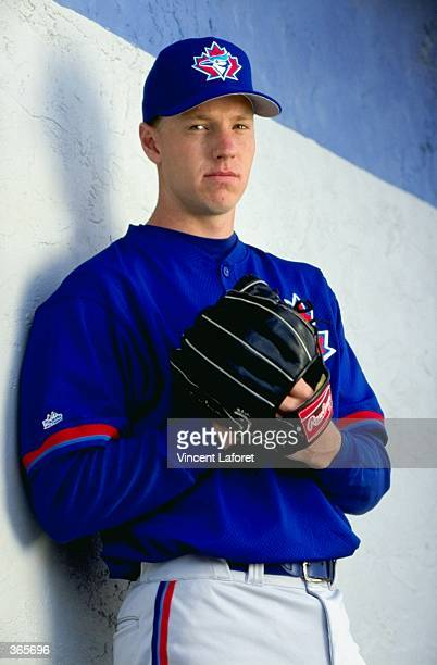 Pitcher Roy Halladay of the Toronto Blue Jays poses for the camera on Photo Day during Spring Training at Grant Field in Dunedin Florida