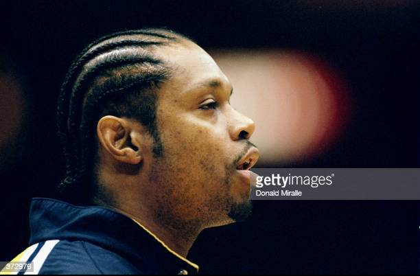 Sam Perkins of the Indiana Pacers looks on during the game against the Los Angeles Lakers at the Great Western Forum in Inglewood California The...