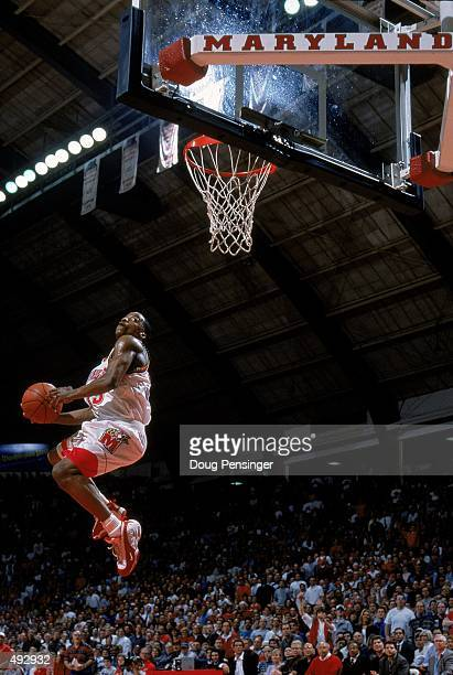Steve Francis of the Maryland Terrapins leaps to make a basket during a game against the Clemson Tigers at the Cole Field House in College Park...