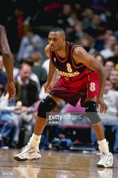 Steve Smith of the Atlanta Hawks on defense during the game against the New Jersey Nets at the Continental Airlines Arena in East Rutherford New...