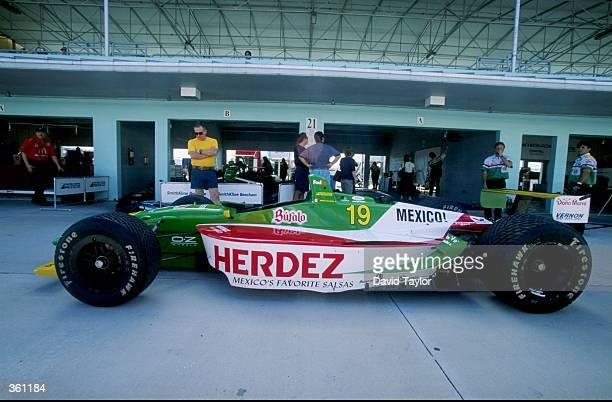 The Ford Lola T99/00 of Payton Coyne Racing is displayed in pit lane during CART Spring Training at HomesteadMiami Speedway in Homestead Florida