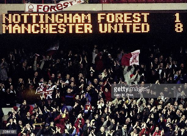 The scoreboard tells the story as Manchester United secure a record away win at Nottingham Forest in the FA Carling Premiership match at the City...
