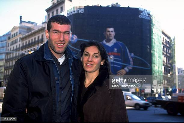 Zinedine Zidane of Juventus and France arrives in Barcelona with his wife Veronique to collect the 1998 FIFA World Player of the Year Award in Spain...