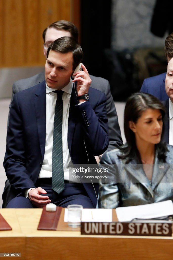 NATIONS, Feb. 20, 2018 -- Senior White House advisor Jared Kushner (L) attends a United Nations Security Council meeting on the Middle East situation at the UN headquarters in New York, on Feb. 20, 2018. The Security Council convened Tuesday for its monthly meeting. The item on the agenda is the Middle East situation, including the 'Palestinian question.'