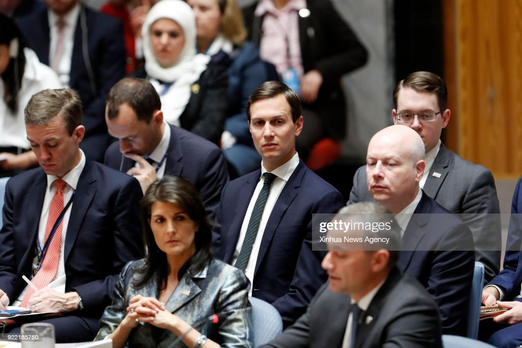 NATIONS, Feb. 20, 2018 -- The UN special coordinator for the Middle East peace process Nikolay Mladenov (R, Front) addresses a United Nations Security Council meeting on the Middle East situation a...