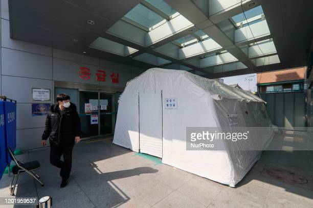 Feb 20, 2020-Daegu, South Korea-Corona virus patience isonation tent installed at medical center in Daegu, South Korea. South Korea reported 31 new...