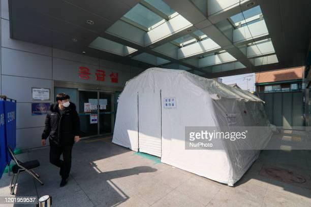 Feb 20, 2020-Daegu, South Korea-Corona virus patience isonation tent installed at medical center in Daegu, South Korea. South Korea reported 31 new...