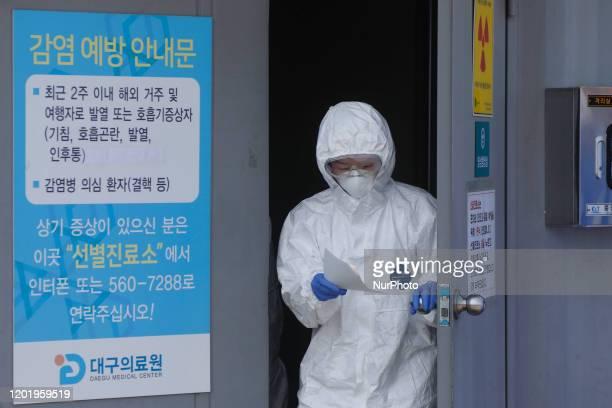 Feb 20, 2020-Daegu, South Korea-Hospital Staff out of Corona virus check office at medical center in Daegu, South Korea. South Korea reported 31 new...