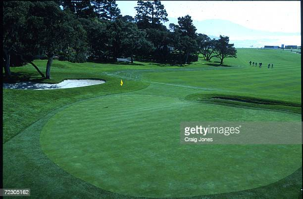 A general view of the 14th green of the Pebble Beach Golf Links in Pebble Beach California