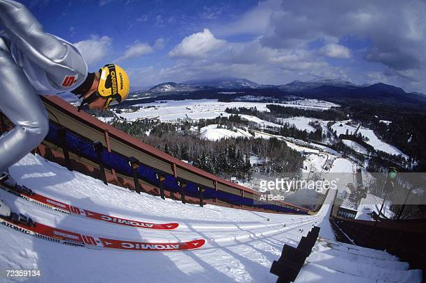 General view of the Ski Jumping Event at the Goodwill Games at Mnt. Van Hoevenberg in Lake Placid, New York. Mandatory Credit: Al Bello /Allsport