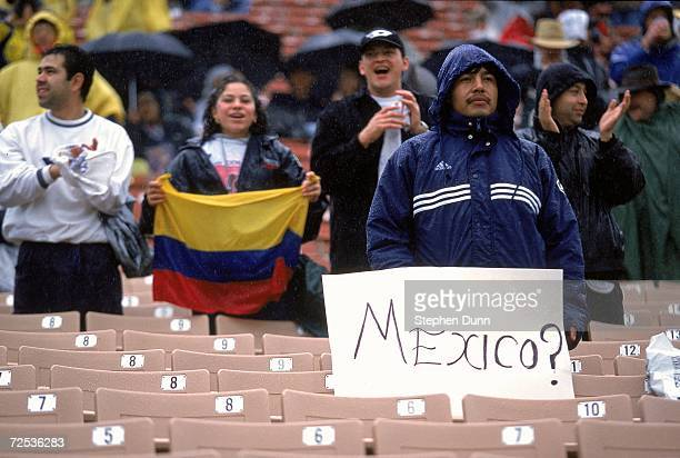 A view of a Mexican fan who sits in the Team Columbia section during the FC Gold Cup 2000 Game against Team Canada at the Los Angeles Coliseum in Los...