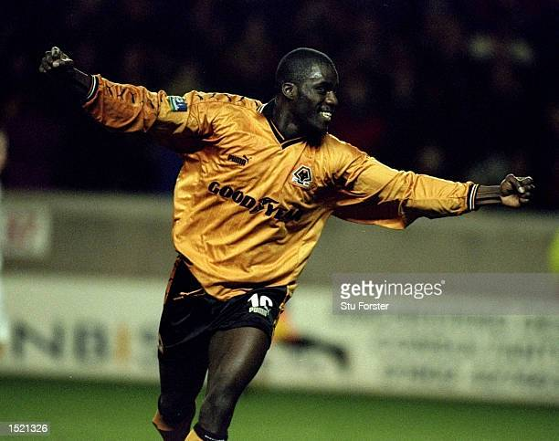 Ade Akinbiyi of Wolverhampton Wanderers celebrates during the Nationwide League Division One game between Wolverhampton Wanderers and Tranmere Rovers...