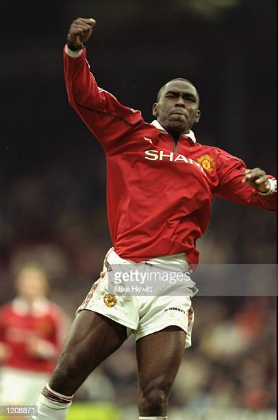 Andy Cole of Manchester United celebrates his goal against Wimbledon during the FA Carling Premiership match at Selhurst Park in London The game...
