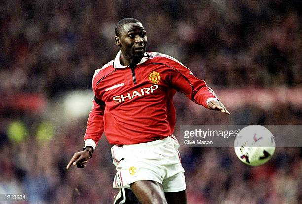 Andy Cole of Manchester United in action during the FA Carling Premiership match against Coventry played at Old Trafford in Manchester England...