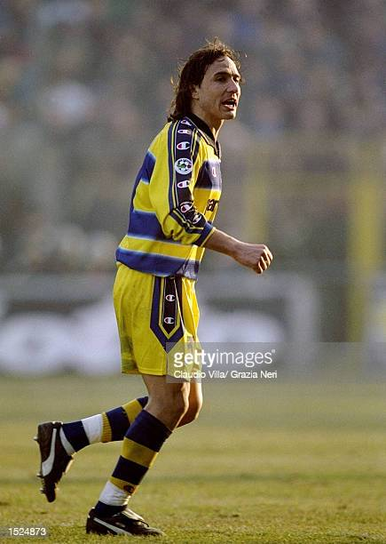 Antonio Benarrivo of Parma during the Italian Serie A game between Parma and Inter Milan at the Ennio Tardini stadium in Parma Italy The game ended...