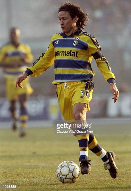 Antonio Benarrivo of Parma in action during the Italian Serie A match against Inter Milan played at Stadio Tardini in Parma Italy The game finished...