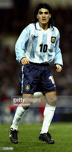 Ariel Ortega of Argentina during the match between England and Argentina in an international friendly at Wembley Stadium London The match ended 00...