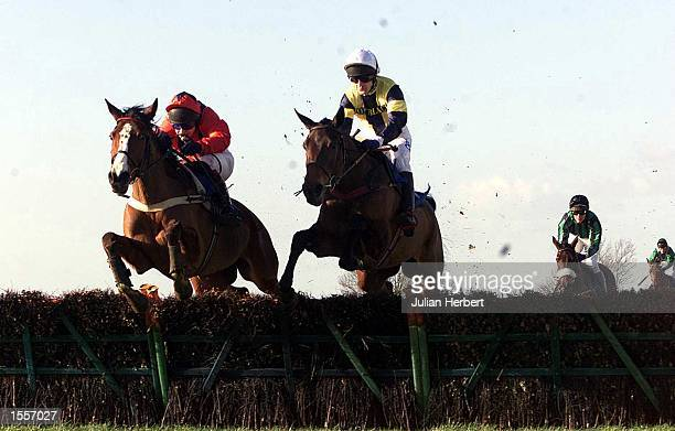 Celtic Native and Andy Thornton clears the second last flight in company with the Richard Johnson ridden No Tale To Tell before landing The Dick...