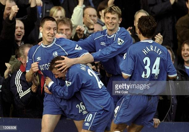 Chelsea's players celebrate John Terry's goal in the AXA sponsored FA Cup Sixth Round match against Gillingham played at Stamford Bridge in London...