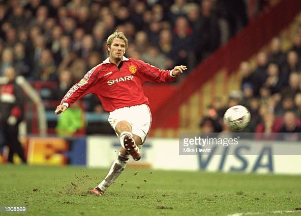 David Beckham of Manchester United in action against Wimbledon during the FA Carling Premiership match at Selhurst Park in London The game ended 22...