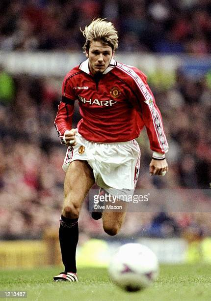 David Beckham of Manchester United in action during the FA Carling Premiership match against Coventry played at Old Trafford in Manchester England...
