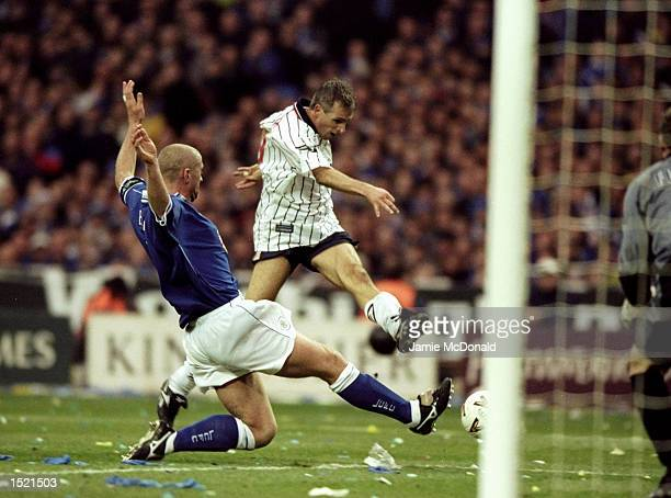 David Kelly of Tranmere Rovers scores against Leicester City during the Worthington Cup Final played at Wembley Stadium in London The Match finished...
