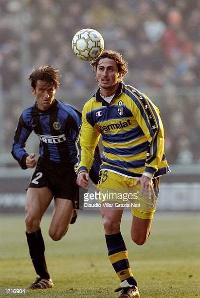 Dino Baggio of Parma in action during the Italian Serie A match against Inter Milan played at Stadio Tardini in Parma, Italy. The game finished in a...