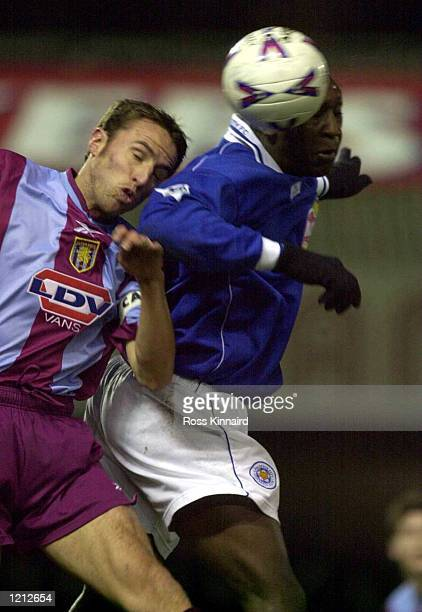 Emile Heskey of Leicester and Gareth Southgate of Villa in action during the Leicester City v Aston Villa Worthington Cup semifinal second leg at...