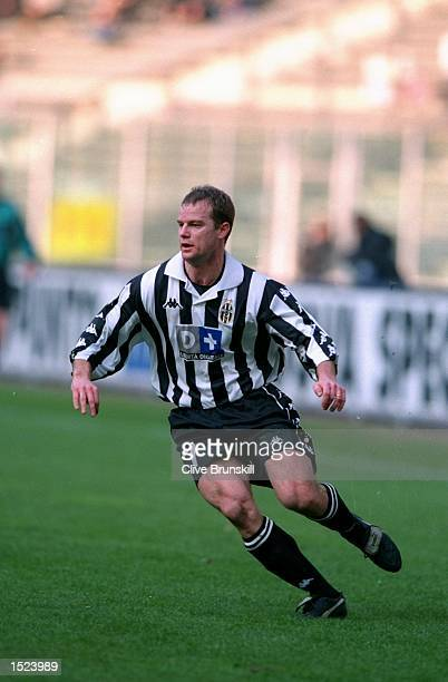 Gianluca Pessotto of Juventus in action during the Serie A match against Lecce at the Stadio Delle Alpi in Turin Italy Juventus won the match 10...