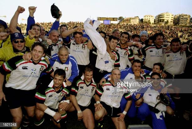 Italy celebrate victory over Scotland after their Six Nations Championship game played at the Flaminio stadium in Rome Italy The game finished Italy...